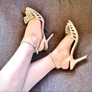 UNISA⚡️Nude Faux Leather Bow Heel Sandals_7.5